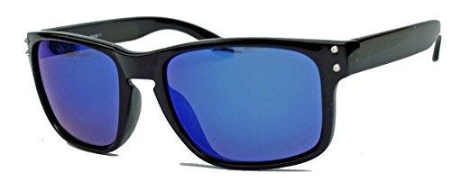 Sportliche Herren Sonnenbrille Flat Top Wrap Style Sportbrille verspiegelt oder getönt HB13 (Schwarz/Blau verspiegelt)