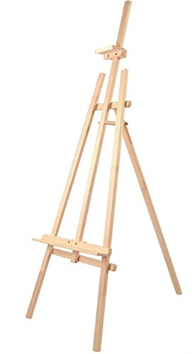 Caballete de madera de pino color natural para pintar o soporte de carteles en todo tipo de eventos,transportable ligero y estable (140cm)