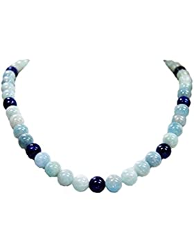 Halskette aus Aquamarin und Lapislazuli Kugelform D-10 mm