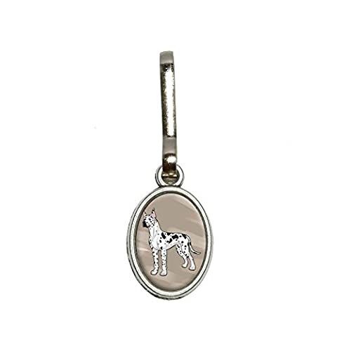 Great Dane - Pet Dog Antiqued Oval Charm Clothes Purse Luggage Backpack Zipper Pull