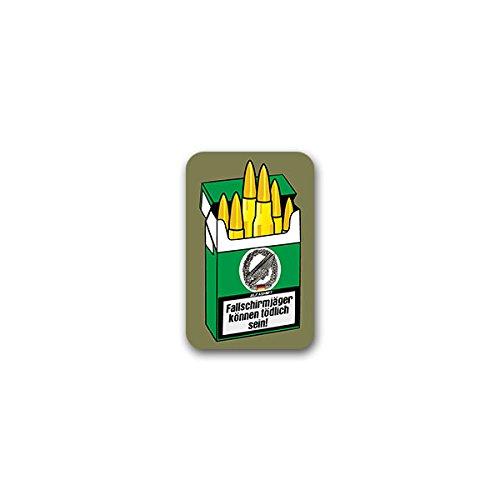 Spa-uniformen (Aufkleber / Sticker -Fallschirmjäger können tödlich sein! Luftlandetruppen Bundeswehr Zigarettenschachtel Patronen Humor Fun Spaß Grüne Teufel Barettabzeichen Soldat Uniform Kippen 5x7cm #A2589)