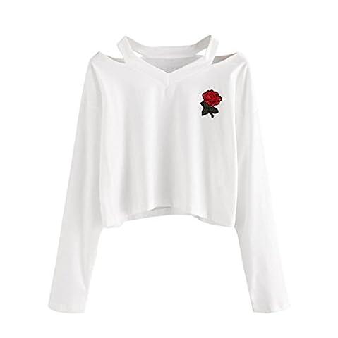 Hirolan Mode Damen Lange Hülse Sweatshirt Rose Drucken Beiläufig Tops Aus Schulter Bluse (S, Weiß)