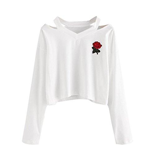 Hirolan Mode Damen Lange Hülse Sweatshirt Rose Drucken Beiläufig Tops Aus Schulter Bluse (M, Weiß) (Cardigan Tuch,)