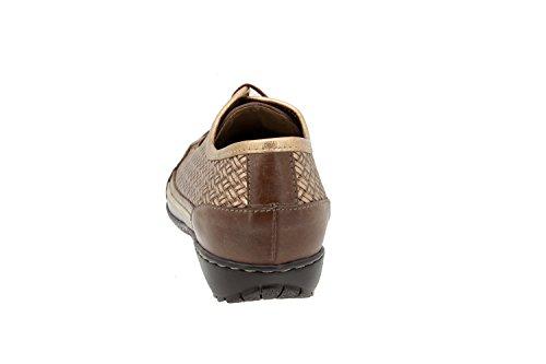 Chaussure femme confort en cuir Piesanto 4751 basket semelle amovible confortables amples Café