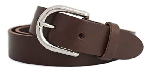 GREEN YARD Ledergürtel schmal Gürtel aus 100% weichem Leder für Damen & Herren Damengürtel 3cm breit,Brown - Braun,110 cm Bundweite = 125 cm Gesamtlänge - Breite 3