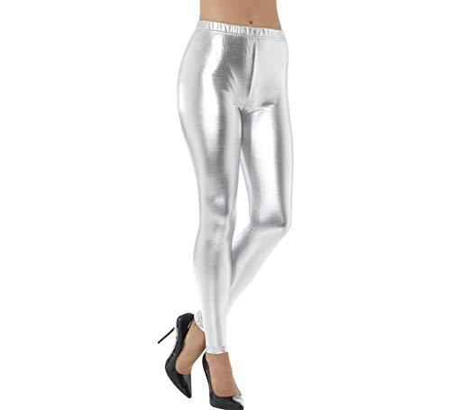 Smiffys Damen 80er Jahre Metallic Disko Leggings, Größe: 40-42, Silber, 48105