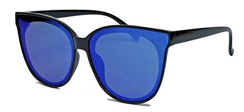 Blogger Trend: Cat Eye Brille mit flachen verspiegelten Gläsern Damen Sonnenbrille LC37 (Schwarz / Blau verspiegelt)