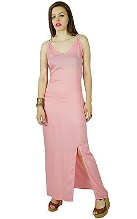 Bimba Frauen langen rosa dünne Baumwollmaxi Kleid mit seitlichem Schlitz bequemen Gewohnheit Kleid