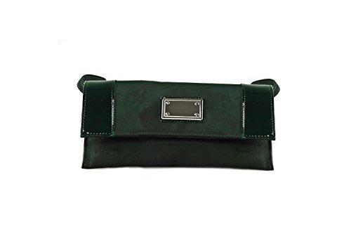 Borsa femme ANNALUNA vert MADE IN ITALY camoscio vernice borsetta pochette N344