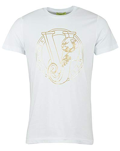 Versace Jeans Vj Circle Foil Logo Crew Neck T-Shirt Large White and Gold