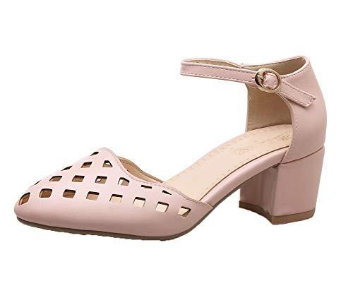 AgooLar Damen Mittler Absatz Rein Schnalle PU Schließen Zehe Sandalen, Pink, 43