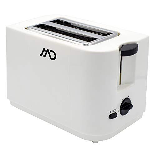 MD HOMELECTRO MTO-8068 Grille-Pain Toaster 2 Fentes à Ejection Automatique avec ramasse miettes, Blanc