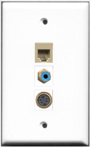 RiteAV-1RCA RJ11, RJ12, beige und blau und 1x Ports 1Port S-Video-Wanddose -