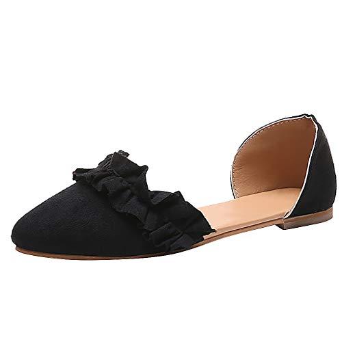 Tohole Damen Schuhe Frauen Pumpen Starke Ferse Spitzschuh Mittlere Fersen Bequeme Schuhe Lässige Geraffte Flache Freizeitschuhe Vintage Elegante Boho Sandalen(Schwarz A,40 EU)