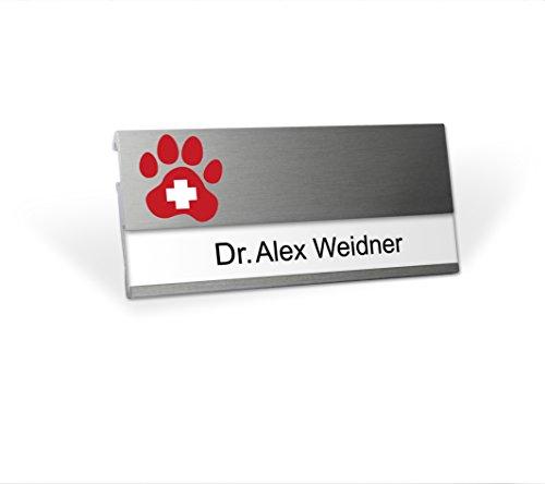 Modernes Namensschild mit branchenspezifischem Logo Tierarzt, MSF mit starkem Doppelmagnet, Clip und Nadel, Silberfarben, selbstbeschriftbar mit Ihrem Wunschnamen , wiederverwendbar, Namensschildchen für Kleidung, Praxis