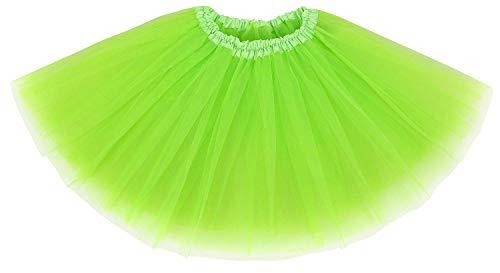 Ksnrang Damen Tütü Rock Minirock 4 Lagen Petticoat Tanzkleid Dehnbaren Mini Skater Tutu Rock Erwachsene Ballettrock Tüllrock für Party Halloween Kostüme Tanzen (Leuchtendes Grün)