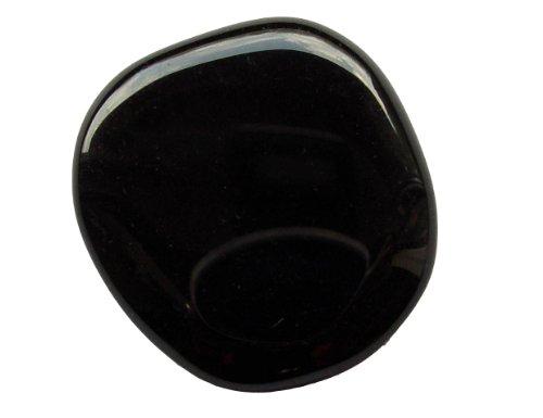 Obsidian schwarz flacher Trommelstein Handschmeichler gute Steinqualität und Polierung.(3439)