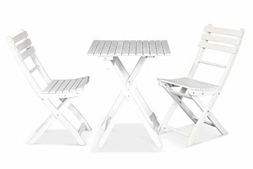 Lanterfant - Bistroset Tess, Vintage Weiß, Sitzgruppe, Balkonset, Balkonmöbel, Klappsessel,...