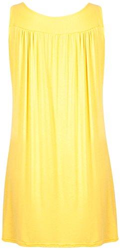Damen Ärmellos Damen Gerafft V Ausschnitt Anhänger Halskette Wulstig Weste schlichtes T-Shirt Top Plus Größe Gelb