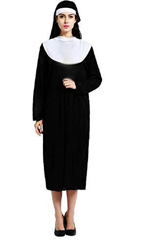Lovelegis Taglia Unica - Costume da Suora Sorella Monaca Chiesa - Travestimento Carnevale Halloween Cosplay Accessori Maschera - Donna Ragazza - Colore Nero