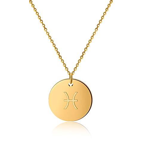 GD Good.Designs ® Goldene Damen Halskette mit Sternzeichen (Fische) Tierkreiszeichen Schmuck mit Horoskop (Pisces) Sternzeichenhalskette goldenekette damenkette frauenschmuck kettegold (Fisch-anhänger)