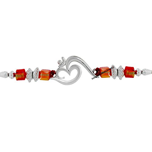 Mahi Silver OM with Crystals and Beads Rhodium Plated Rakhi for Women(Red, BR1100547R)