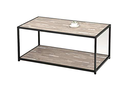 Meubletmoi Table Basse rectangulaire Pied métal - Plateau Bois Vieilli - Style Industriel Contemporain - FIXI