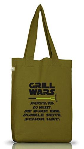Lustiger Jutebeutel Stoffbeutel Earth Positive von Shirtstreet24 mit Dunkle Seite Grill Wars Motiv Leaf Green