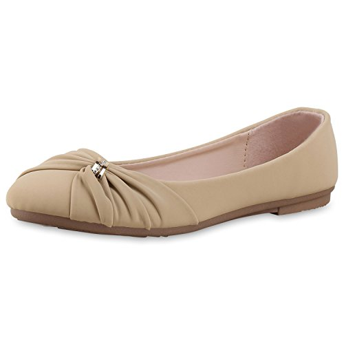napoli-fashion Klassische Damen Ballerinas Übergrößen Leder-Optik Flats Strass Schuhe Elegante Abendschuhe Slippers Partyschuhe Jennika Creme Gold
