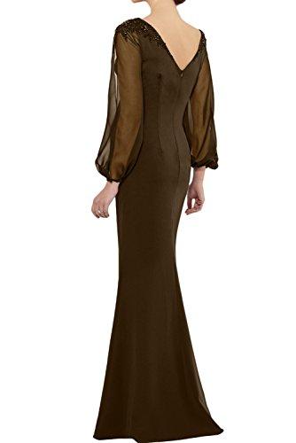TOSKANA BRAUT Damen einfach bodenlang Meerjungfrau Rundkragen lange Aermel Satin Chiffon Brautmutterkleid Abendkleid Partykleid Navy