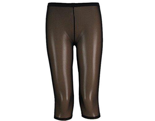 BONAMART  Damen Sexy Hipster Transparent Lycra Kurz Capri Leggings Leggins Hose