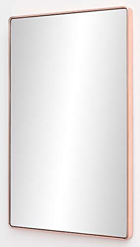 FineBuy Wandspiegel FB13969 Kupfer 50 x 80 x 4 cm Spiegel Modern Rahmen Groß | Hängespiegel Schlafzimmer Rechteckig | Garderobenspiegel Flur zum Aufhängen Eckig | Design Dekospiegel Wand Wohnzimmer