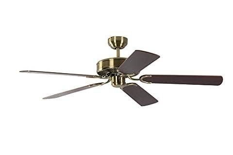 Pepeo 1334201232_v4 Potkuri Ceiling Fan with Mahogany Blades - Brass Antique