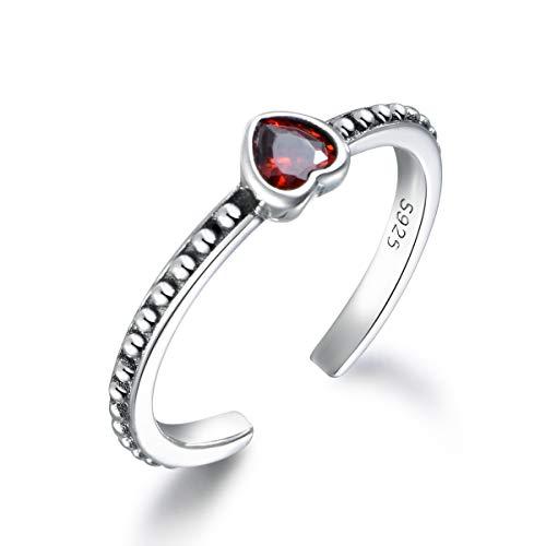 SNORSO Anillo de plata de ley 925 con corazón de rubí rojo para mujer, anillo bohemio ajustable para cóctel