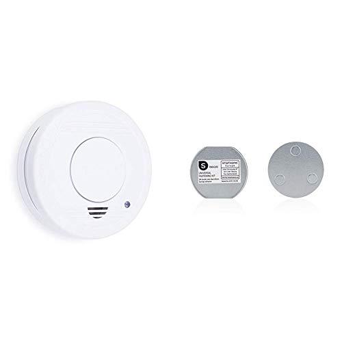 Smartwares TÜV geprüfter Rauchmelder/Feuermelder, DIN EN 14604 zertifiziert, RM250 + Magnetbefestigungsset Magnetbefestigung für Rauchmelder, 6cm Durchmesser, Silber