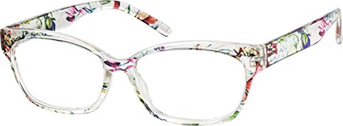 Zenni Optische Blokz Damenbrille, mit Katzenaugen-Rahmen, Blau transparent Clear Pattern