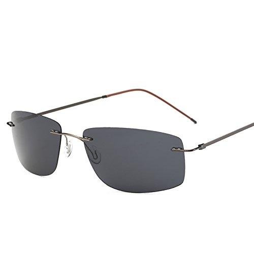 MinegRong mit Fall polarisiert Titan Silhouette Sonnenbrille Square Polaroid Gafas Männer runde Sonnenbrille Sonnenbrille für Männer, ZP4336 mit Case C1 Polaroid Square