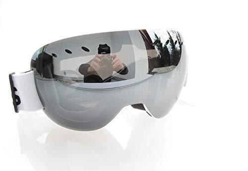 Tclothing Sport Linse Skibrille Snowboardbrille Schutzbrille Ski Goggles mit Silber gespiegelter Scheibe Rahmenlos Metallrahmen Schutz