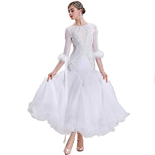 Standardtanz Kostüm Damen - MDWDQ Moderner Tanzrock Strass Walzer Standardtanz Kleider Große Schaukel Damen Moderner Tanzrock Wettbewerb Kostüm,White,M