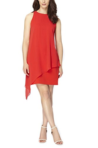 Tahari Women's Chiffon Overlay Crepe Dress - Scarlet
