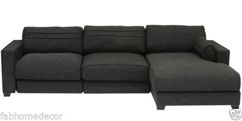 FabHomeDecor Champan FHD633 Three Seater Sectional Sofa (Black)