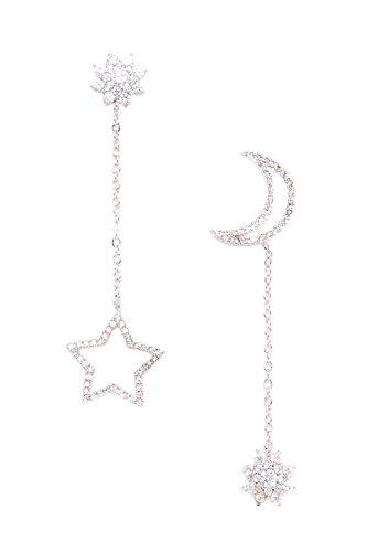 Happiness Boutique Orecchini Asimmetrici Stella e Luna in Argento | Orecchini Lunghi con Zirconi e Brillantino