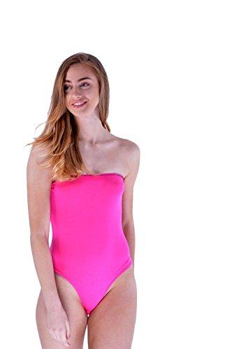 Womens Sleeveless Strapless Boobtube Bodysuit Plain Tuck in Popper (Strapless Bodysuit)