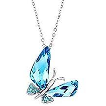 Collier Papillon Made with Swarovski® Elements bleu de Neoglory Jewellery 0bd27980ba67
