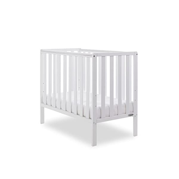 Obaby Bantam Space Saver Cot, White Obaby Adjustable, 3 position base height Beautiful slatted ends and sides help you keep an eye on your little one Teething rails ensure delicate teeth are protected 1