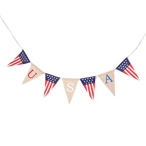 MARCU Home USA Sackleinen Banner 4. Juli Bunting Banner patriotischen hängenden Banner American Party Wimpel Decor Party Supplies (Bunting Juli 4.)