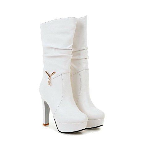 AllhqFashion Damen Ziehen Auf Hoher Absatz Pu Leder Eingelegt Stiefel Weiß