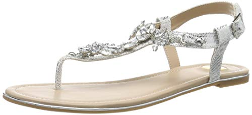 Buffalo Shoes Damen 14S07-21 Zehentrenner, Grau (Silver 000), 37 EU (Damen Sandalen Flache)