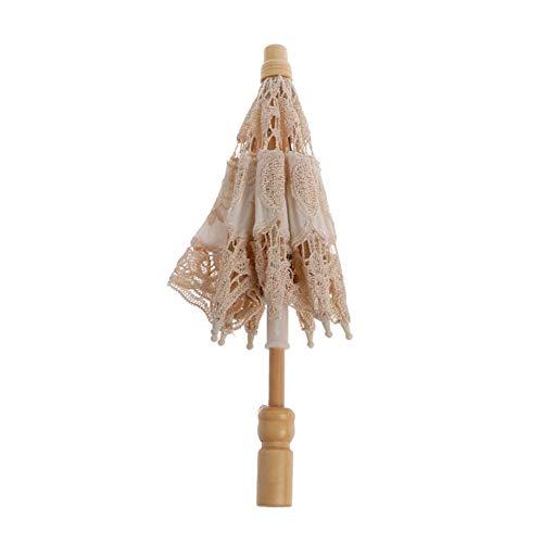 DAYOLY Neugeborenes Fotografie Spitze Regenschirm für Kleinkind Studioaufnahmen Foto-Prop zum Neue Mutter Babygeschenk (Milchig ()