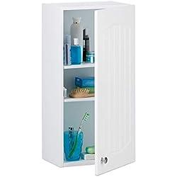Relaxdays Armoire de salle de bain en bois blanc à suspendre 2 étages meuble de rangement mural lamelles MDF HxlxP: 60 x 30 x 20,5 cm, blanc